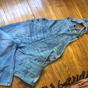 Denim Capri length overalls